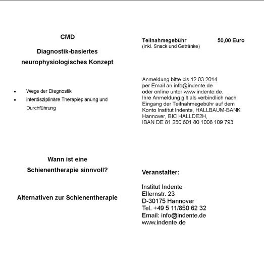 8. Hannoversches CMD-Symposium 19.03.2014